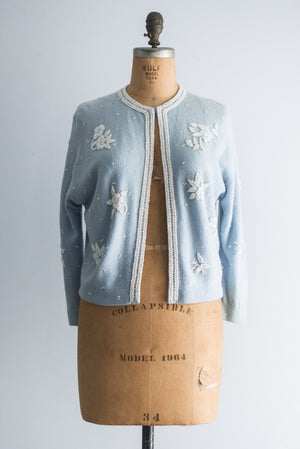 1950s Blue Beaded Cashmere Cardigan - S/M