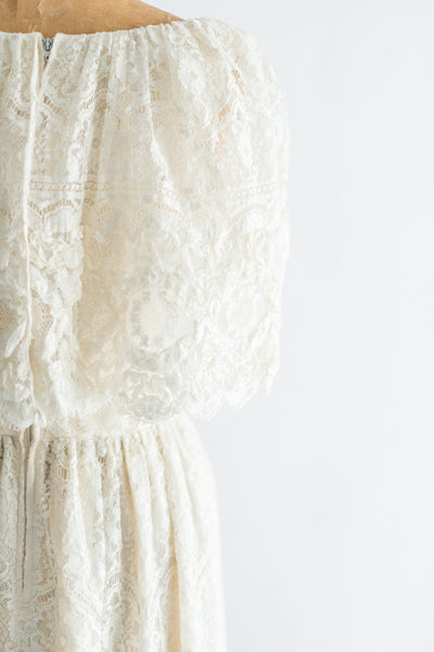 1970s Net Crochet Lace Gown - M