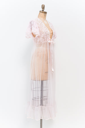 1960s Pink Nylon Dressing Gown - S/M