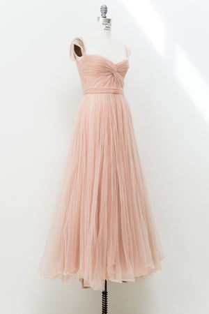 Reem Acra Nude Off-the-Shoulder Tulle Gown - M/10