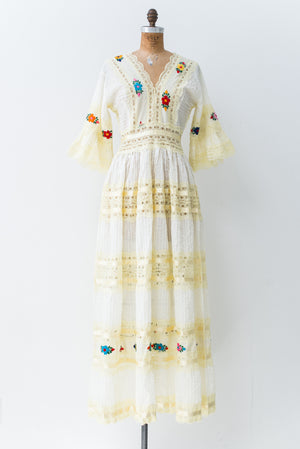 1970s Light Yellow Floral Embroidered Bell Sleeves Dress - S