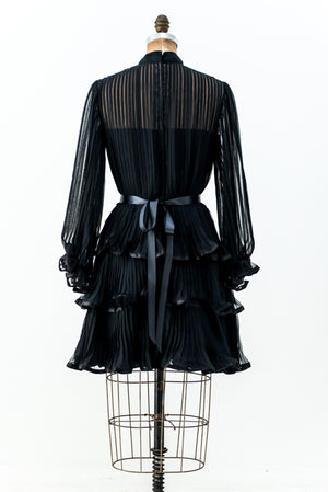 1960s Pleated Chiffon Dress - S/M