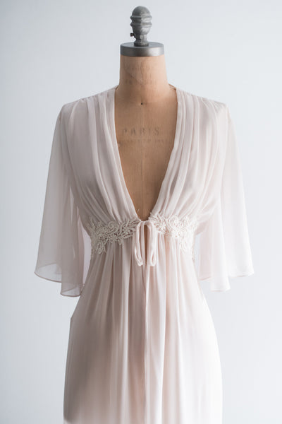 1970s Light Pink Chiffon Dressing Gown - S/M