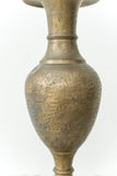 Antique Engraved Floral Brass Vase