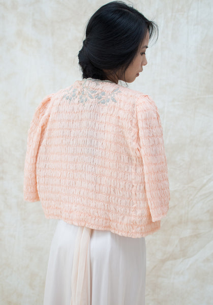 1930s Light Pink Silk Chiffon Ruche Jacket - S/M