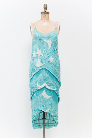1980s Turquoise Moon and Stars Silk Beaded Dress - S/M