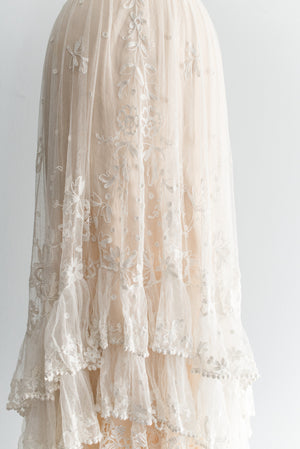 Tiered Edwardian Tambour Skirt and silk Slip- S