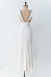 1930s Ivory Bias Cut Rayon Gown with Rhinestones - XS