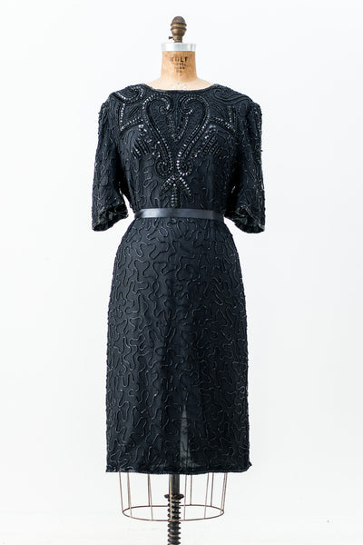 1980s Black Silk Beaded Dress - M
