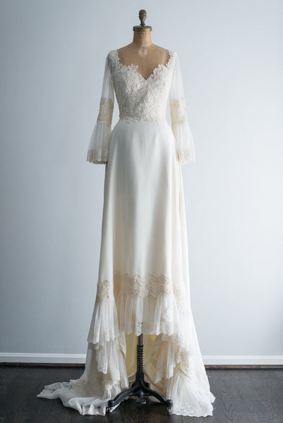1960s Lace Beaded Bell Sleeves Gown - S