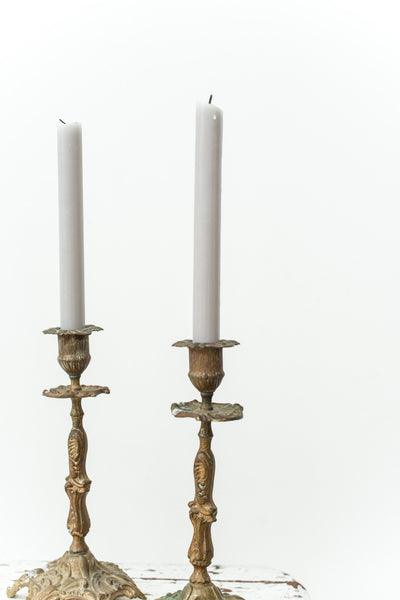 Pair of Rare Antique Brass Candle Sticks Holders