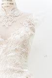 1980s Satin and Lace Wedding Gown - M