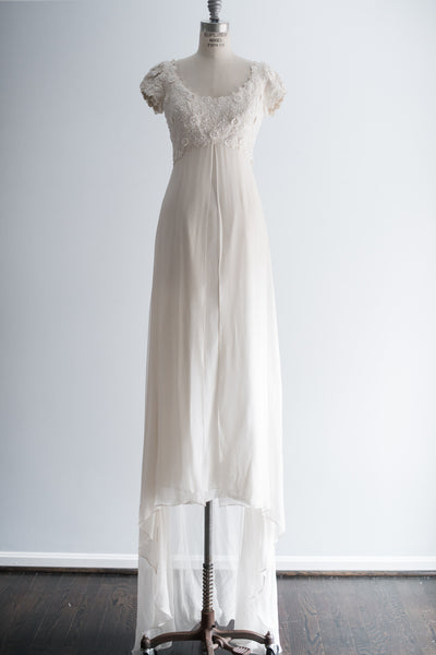 1970s Silk Chiffon and Applique Bodice Gown - S/M
