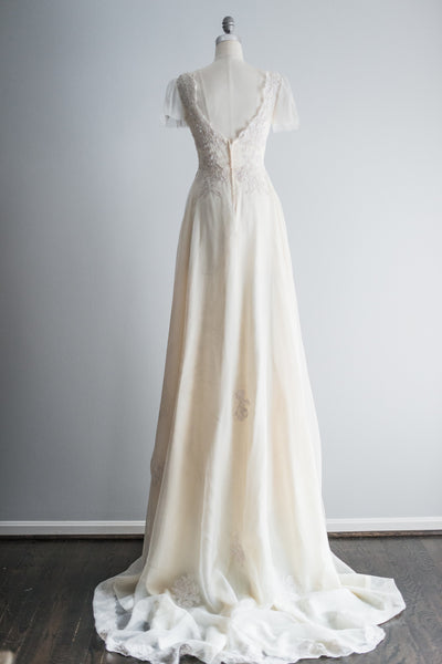 RESERVED 1950s Cream Tricot Chiffon and Lace Gown - S/M