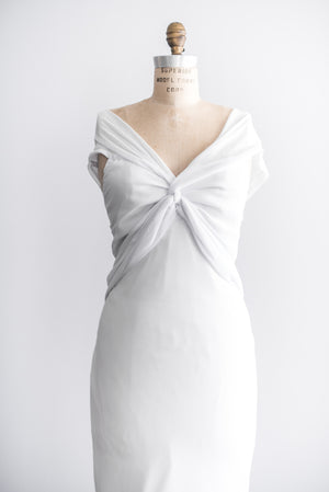 Vintage White Chiffon Twist Dress - M/L