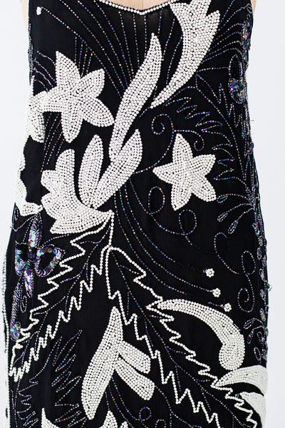 1980s Black and White Silk Beaded Flapper-Inspired Dress - M/L