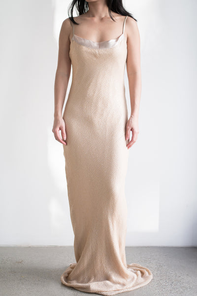 1980s Bias Cut Nude Mermaid Gown - S/M