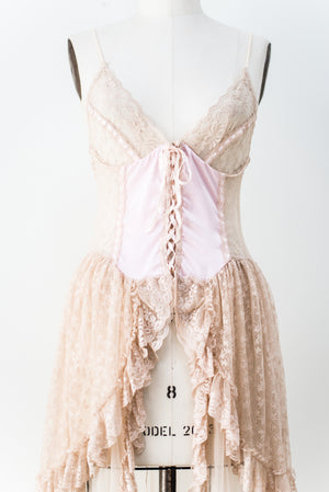 Vintage Pink and Ecru Lace Negligee - S/M