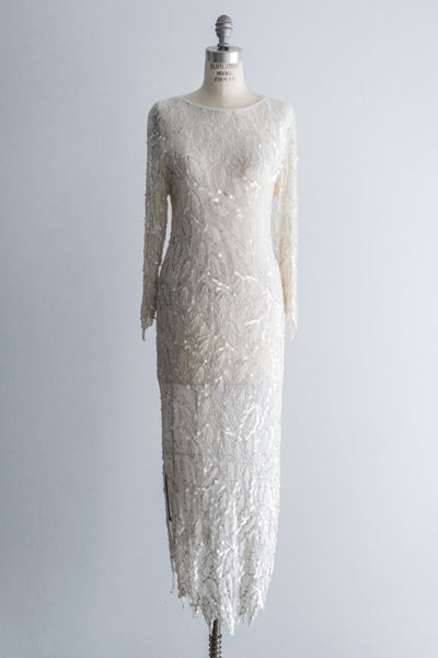 1980s Cream Leaf Beaded Silk Gown - M