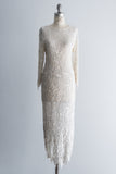 1980's Cream Leaf Beaded Silk Gown - M