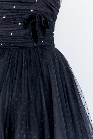 1950s Black Tulle Dress - XS