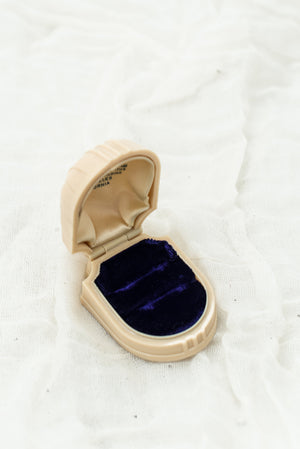 Vintage Celluloid Ring Box with Purple Velvet Lining