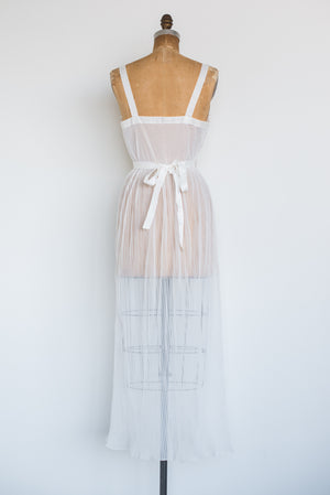 1950s Ivory Pleated Slip Gown - S/M