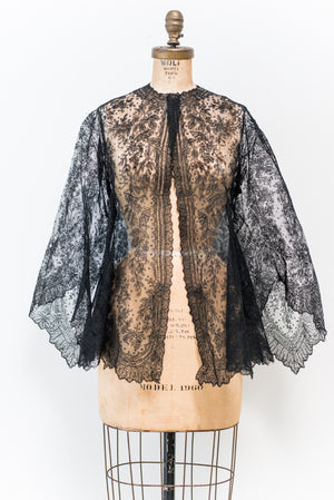 Antique Black Lace Jacket - S/M