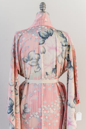 Vintage Pink Striped Silk Rose Printed Kimono with Embroidery - One Size