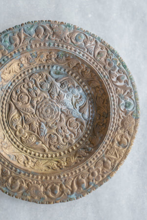 Antique Bas-Relief Round Tray