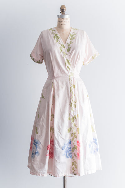 1950s Light Pink Cotton Silk Blend Wrap Dress - S/M