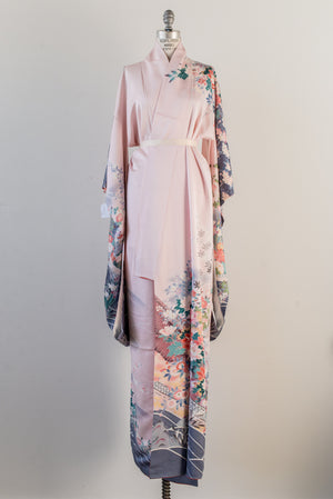 Vintage Pink and Purple Silk Kimono - One Size
