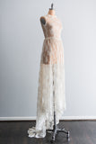 1950's Silk Chantilly Lace Gown with Peter Pan Collar - XS/S