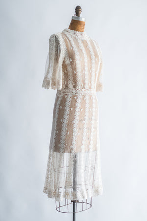Vintage Knit Crochet Dress - S/M
