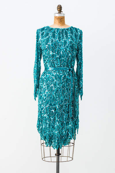 1980s Teal Beaded Leaf Dress - S/M