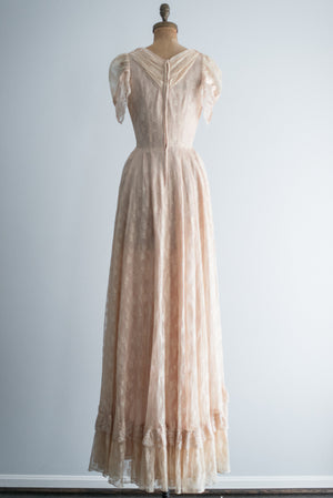 1970s Ecru Lace V Neck Gown - S