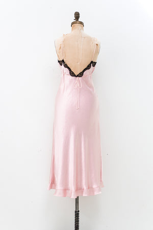 1980 Pink Satin and Lace Slip Dress - S
