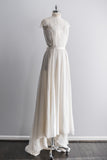 1970s Cap Sleeves Chiffon and Lace Wedding Gown - S