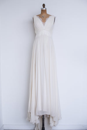RENTAL Silk Cap Sleeves Draped Gown - S/M