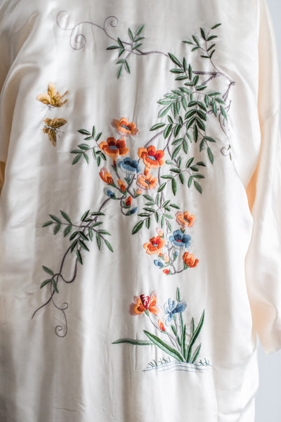 [SOLD] Vintage Cream Silk Kimono Robe with Colorful Embroidery - S/M