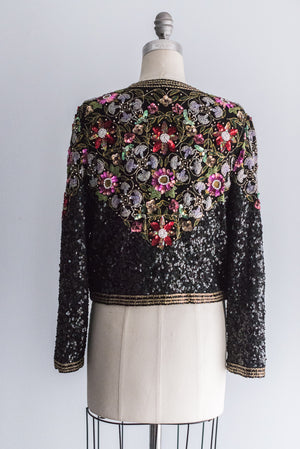 1980's Jewel-Colored Flowers Sequined Jacket - M/L