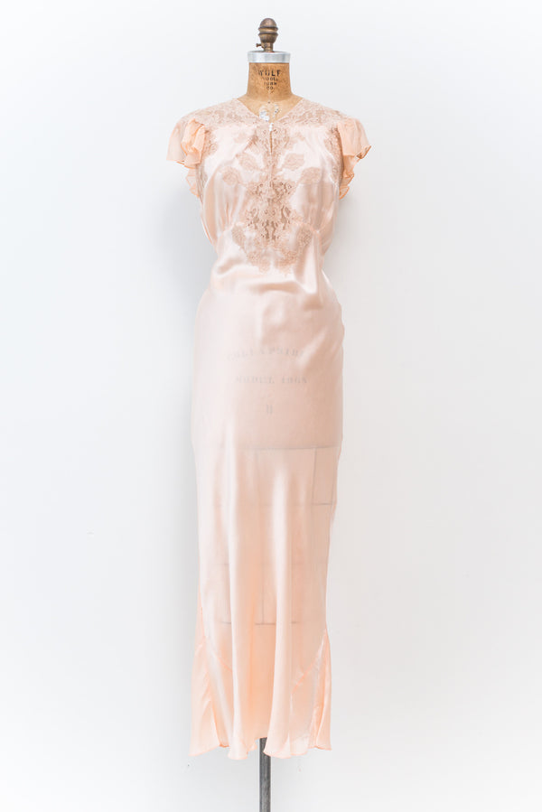 1930s Silk Satin and Lace Gown - M