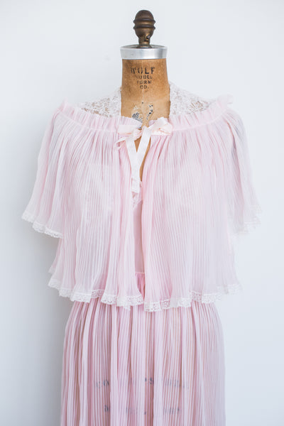 1950s Pink Nylon Slip with Jacket - S/M