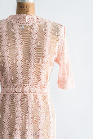 Light Pink Vintage Knit Crochet Dress - S/M