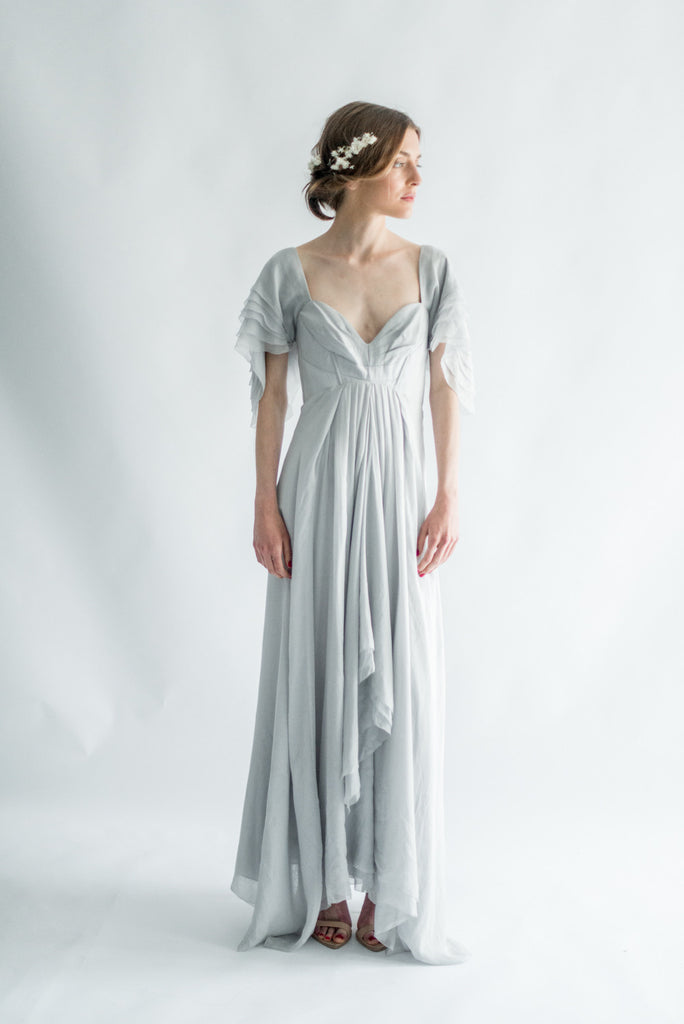 Periwinkle Blue Silk Chiffon Gown S G O S S A M E R