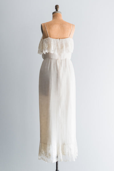 1970's Chiffon and Lace Gown - M