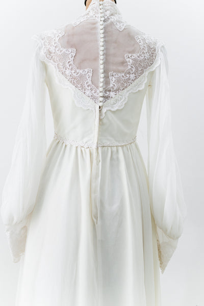 1970s Chiffon and Lace Wedding Gown - S