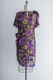 1980's Silk Floral Velvet Burnout Shift Dress - M