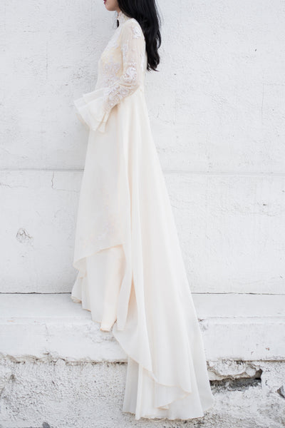 1960s Chiffon and Lace Wedding Gown - XS/S