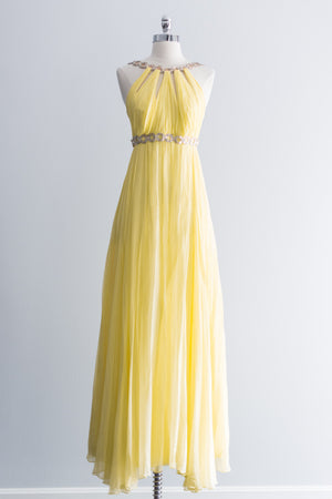 1960s Yellow Chiffon Halter Gown - S